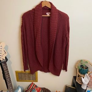 Rust Colored Chunky Knit Cardigan Sweater